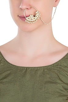 Gold plated white stones nose ring