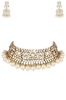 Gold plated white choker pearl necklace set by RIANA JEWELLERY