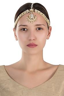 Gold plated white stone mathapatti