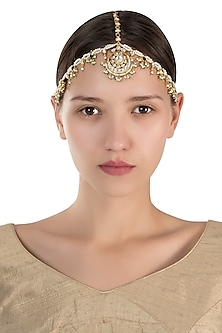 Gold plated pearl and green stone mathapatti by Riana Jewellery