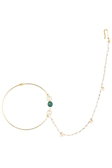 Gold plated green beads and pearl nose ring by Riana Jewellery