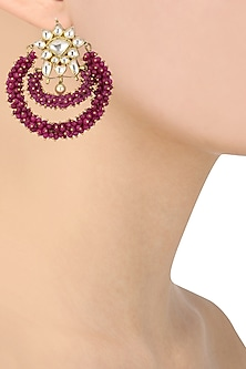 Gold Plated Jadtar Stones and Pink Beads Earrings by Riana Jewellery