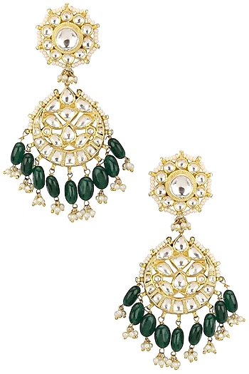Gold Plated Pearl and Jadtar Stones Earrings by Riana Jewellery