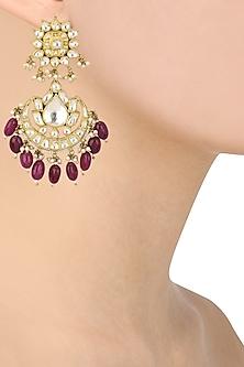 Gold Plated Jadtar Stones and Pearl Chandbali Earrings