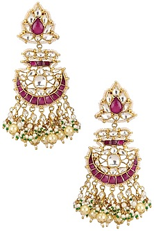 Gold Plated Pink and White Jadtar Stone Curved Shape Earrings by Riana Jewellery