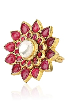 Gold Plated Pink Jadtar Stone Flower Ring by Riana Jewellery