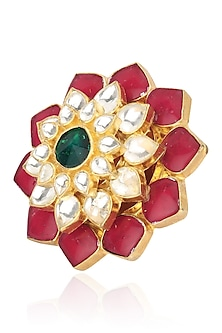 Gold Plated Small Jadtar Stone Flower Ring by Riana Jewellery