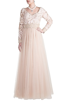 Beige Embroidered Gown by Rocky Star