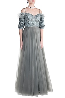 Grey Embroidered Gown by Rocky Star