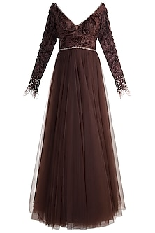 Brown Embroidered Gown by Rocky Star