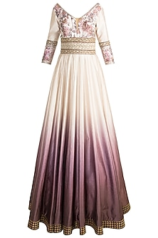 Pink Embroidered & Digital Printed Gown by Rocky Star