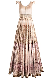 Dark Beige Digital Printed & Embroidered Gown by Rocky Star