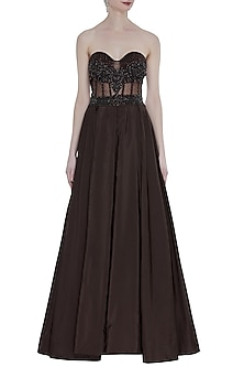 Coffee Hand Embroidered Pleated Gown by Rocky Star