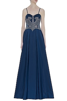 Teal Blue Hand Embroidered Pleated Gown by Rocky Star