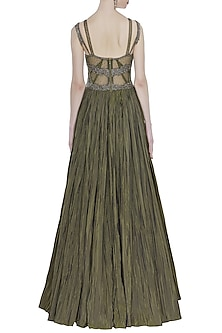 Olive Green Hand Embroidered Sleeveless Gown by Rocky Star