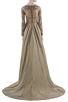 Grey Hand Embroidered Gown With Long Trail by Rocky Star