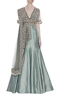 Grey Hand Embroidered Indo-Western Gown With Attached Dupatta by Rocky Star