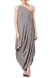 Grey Asymmetrical One Shoulder Draped Dress by Rocky Star