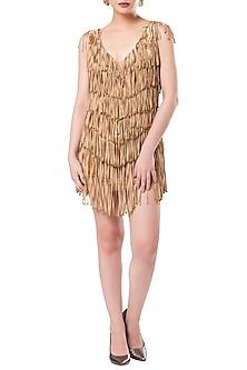 Dusky Brown Asymmetrical Tasseled Dress by Rocky Star