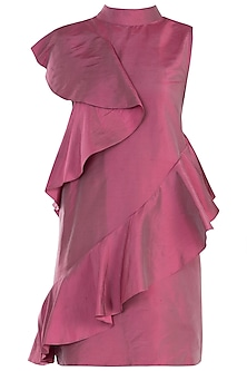 Onion Pink High-Low Ruffle Dress