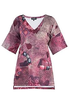 Pink Printed Flared Sleeves Top