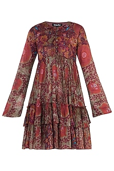 Red Printed Full Sleeves Dress