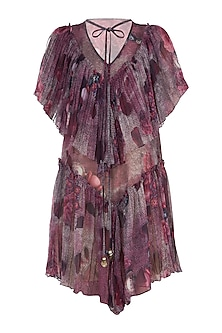Purple Gathered Printed Dress