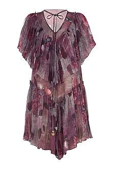 Purple Gathered Printed Dress by Rocky Star