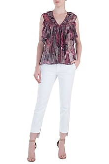 Purple Flared Printed Top by Rocky Star