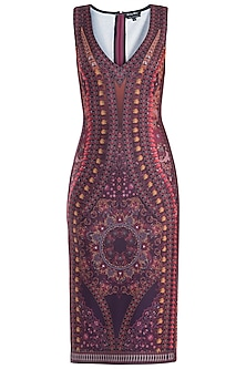 Purple Printed Sleeveless Dress by Rocky Star
