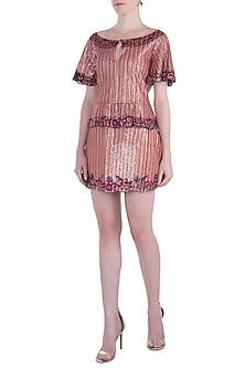 Red Embroidered Dress by Rocky Star