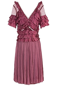 Pink Shell Button Frill Dress