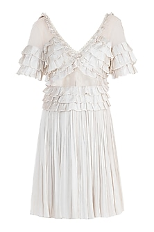 Ivory Shell Button Frill Dress
