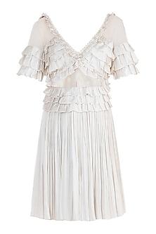 Ivory Shell Button Frill Dress by Rocky Star