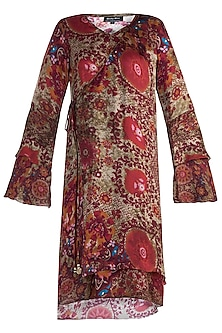 Red Printed Flared Sleeves Kaftan Dress