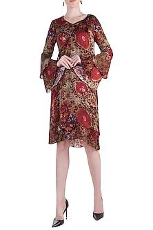 Red Printed Flared Sleeves Kaftan Dress by Rocky Star