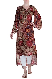 Red Printed Flared Sleeves High-Low Tunic by Rocky Star