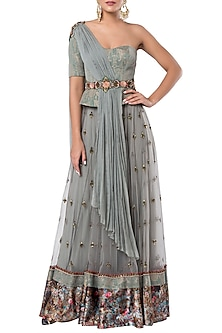 Grey embroidered lehenga set with belt by ROCKY STAR
