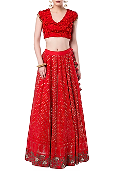 Red embroidered crop top with lehenga skirt by ROCKY STAR