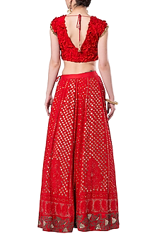 Red embroidered crop top with lehenga skirt