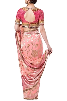 Peach embroidered saree set by ROCKY STAR
