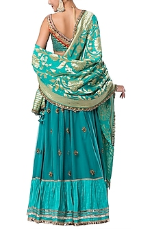 Turquoise embroidered lehenga set
