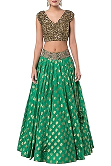 Green embroidered crop top with lehenga skirt by ROCKY STAR