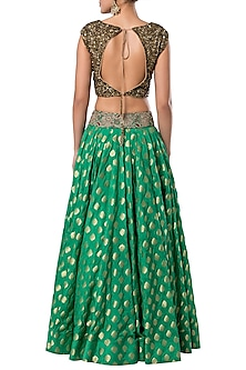 Green embroidered crop top with lehenga skirt