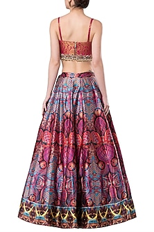 Multicolored embroidered crop top with lehenga skirt