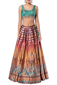 Multicolored embroidered crop top with printed skirt by ROCKY STAR