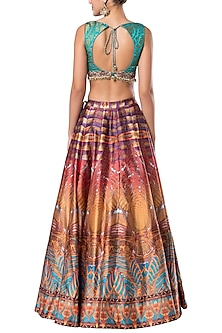 Multicolored embroidered crop top with printed skirt