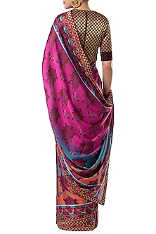 Multicolored printed saree set