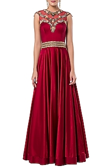 Dark red embroidered gown by ROCKY STAR
