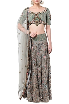 Grey embroidered lehenga set by ROCKY STAR